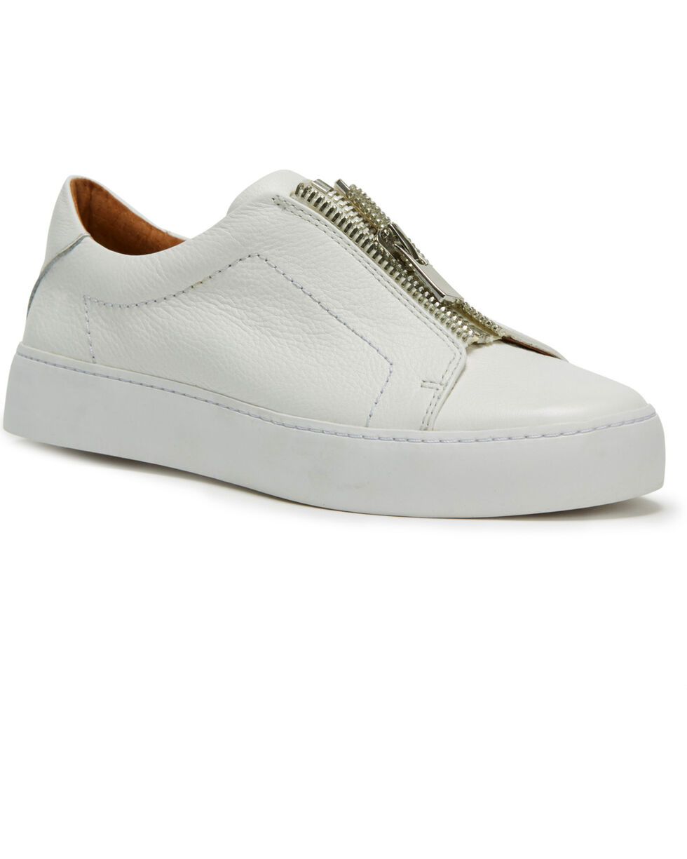 Frye Women's White Lena Zip Low Shoes - Round Toe, White, hi-res