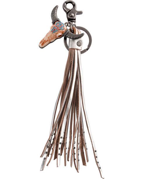 BB Ranch Longhorn Charm Tassel Keychain, Silver, hi-res