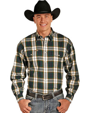 Powder River Men's Bandera Brushed Plaid Long Sleeve Shirt, Green, hi-res