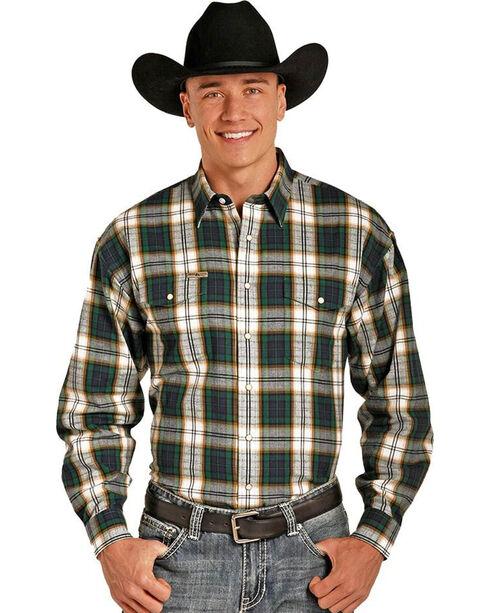 Powder River Men's Bandera Brushed Plaid Long Sleeve Shirt, Green, hi-res