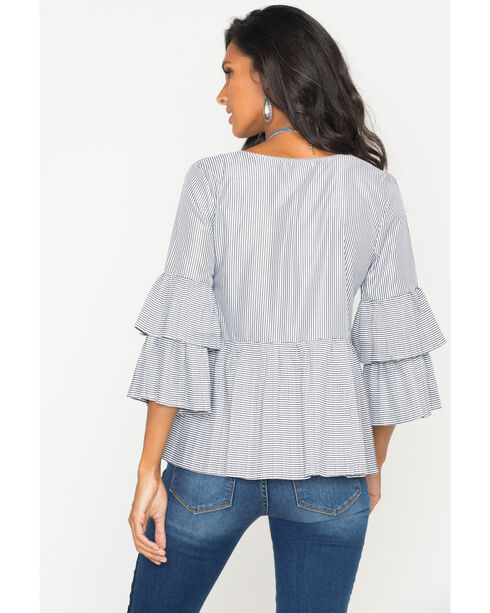 Polagram Women's Vertical Stripe Print Blouse , White, hi-res