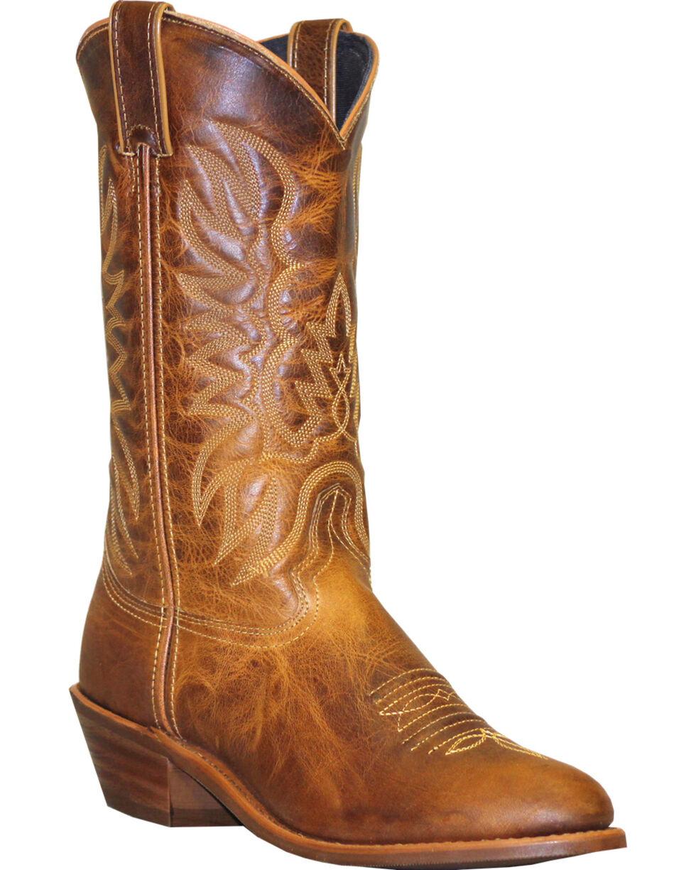 Abilene Sage Distressed Tan Cowboy Boots - Round Toe, , hi-res