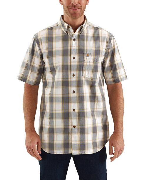 Carhartt Men's Essential Plaid Button Down Short Sleeve Shirt, Slate, hi-res