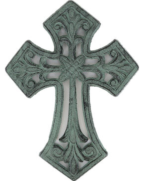 BB Ranch® Cast Iron Antique Cross Wall Decor , Turquoise, hi-res