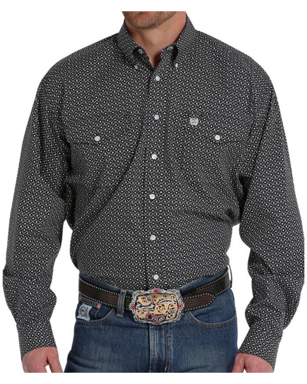 Cinch Men's Black Printed Long Sleeve Shirt , Black, hi-res