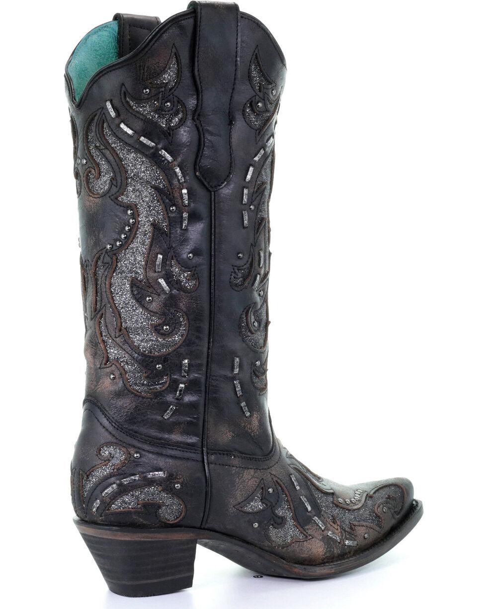 Corral Women's Black Glittered Inlay & Stud Boots - Snip Toe , Black, hi-res