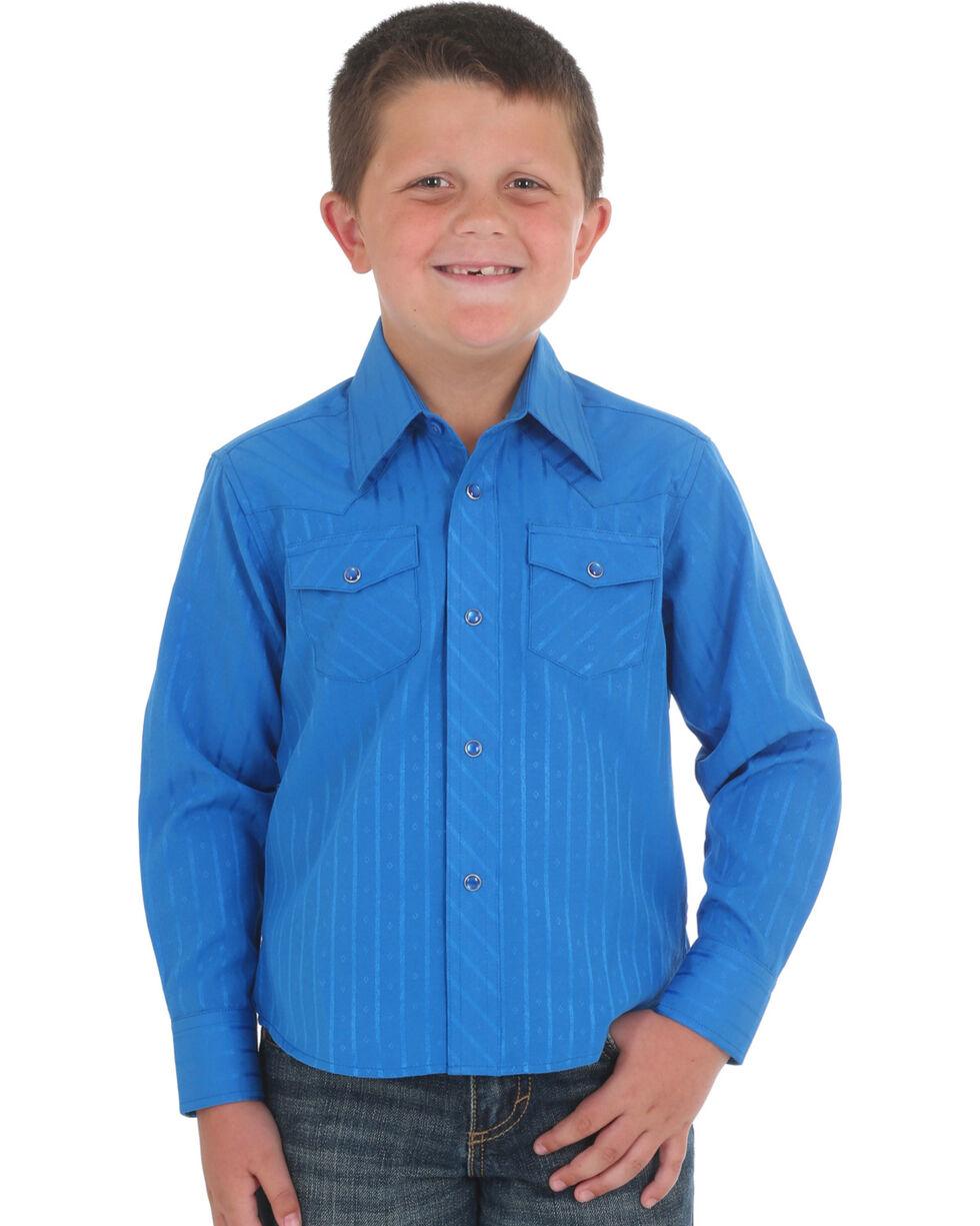 Wrangler Boys' Blue Sport Western Print Shirt , Blue, hi-res