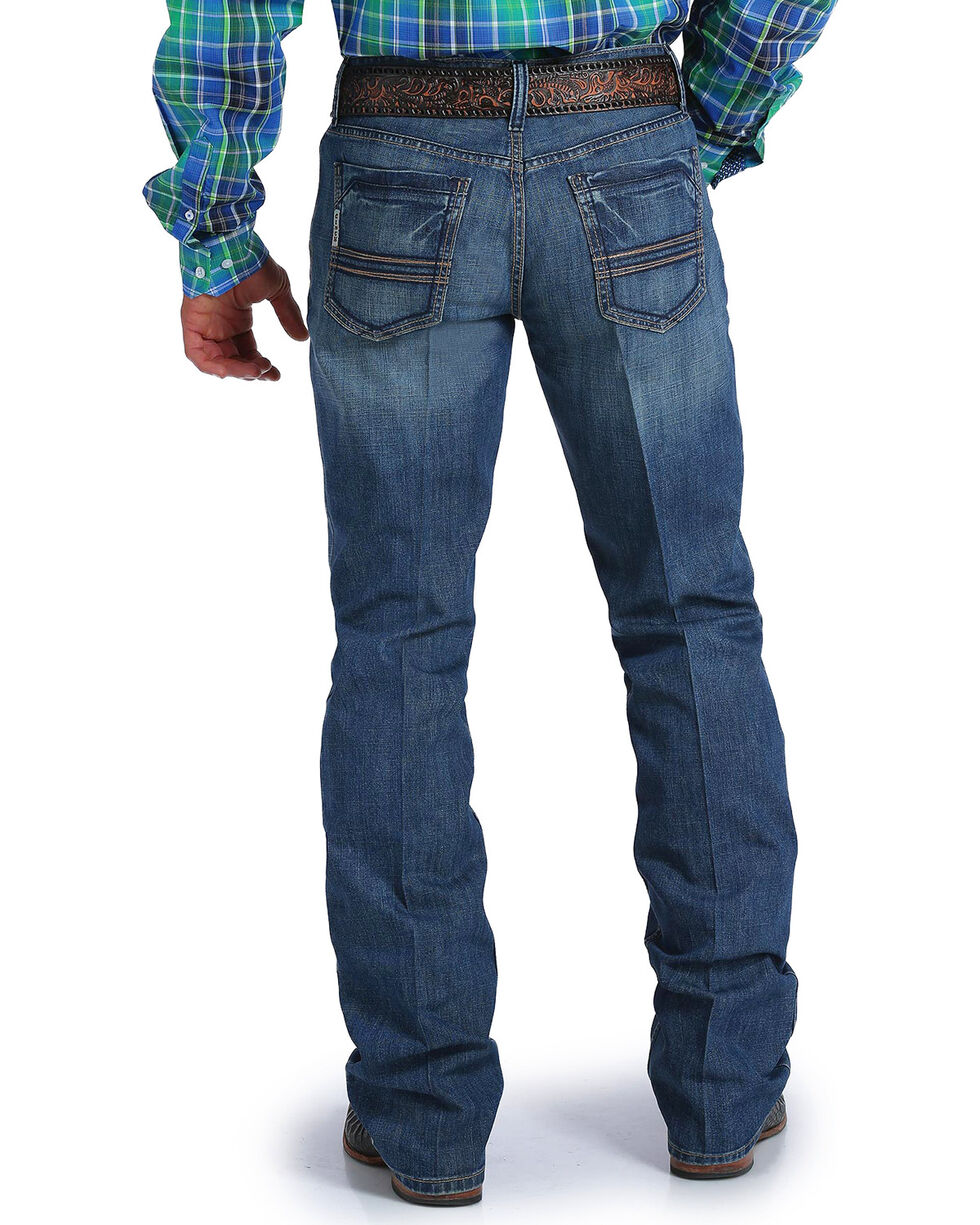 Cinch Men's Ian Performance Denim Medium Stonewash Slim Fit Jeans - Boot Cut, Indigo, hi-res