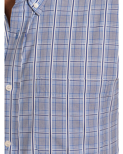 Cowboy Legend Men's Blue Plaid Short Sleeve Shirt , Blue, hi-res