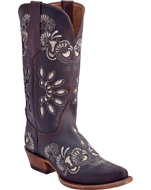 Ferrini Women's Chocolate Masquerade Western Boots - Snip Toe, Chocolate, hi-res