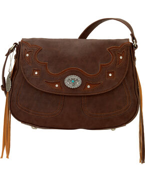 Bandana by American West Lexington Crossbody Flap Bag, Chocolate, hi-res