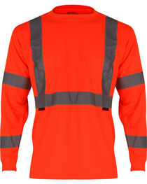 Wolverine Men's High Visibility Reflective Long Sleeve Polyester T-shirt, , hi-res