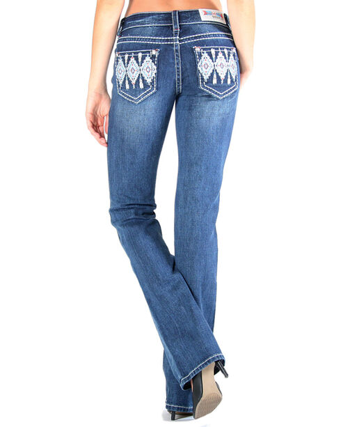 Grace in LA Women's Aztec Tribal Pocket Jeans - Boot Cut , Dark Blue, hi-res