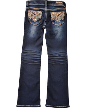 Grace in LA Girls' Lattice Scroll Pocket Bootcut Jeans , Indigo, hi-res