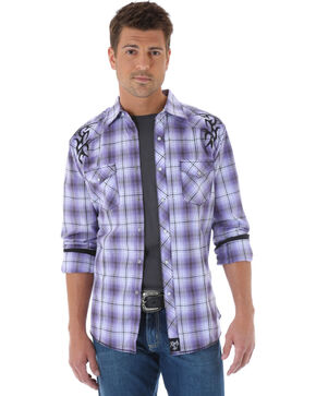 Rock 47 by Wrangler Plaid Tribal Long Sleeve Shirt, Purple Pld, hi-res