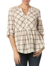Miss Me Taupe Checkered Peplum Top , , hi-res