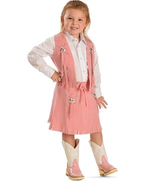 Girls' Pink Faux Suede Vest and Skirt Set, Pink, hi-res