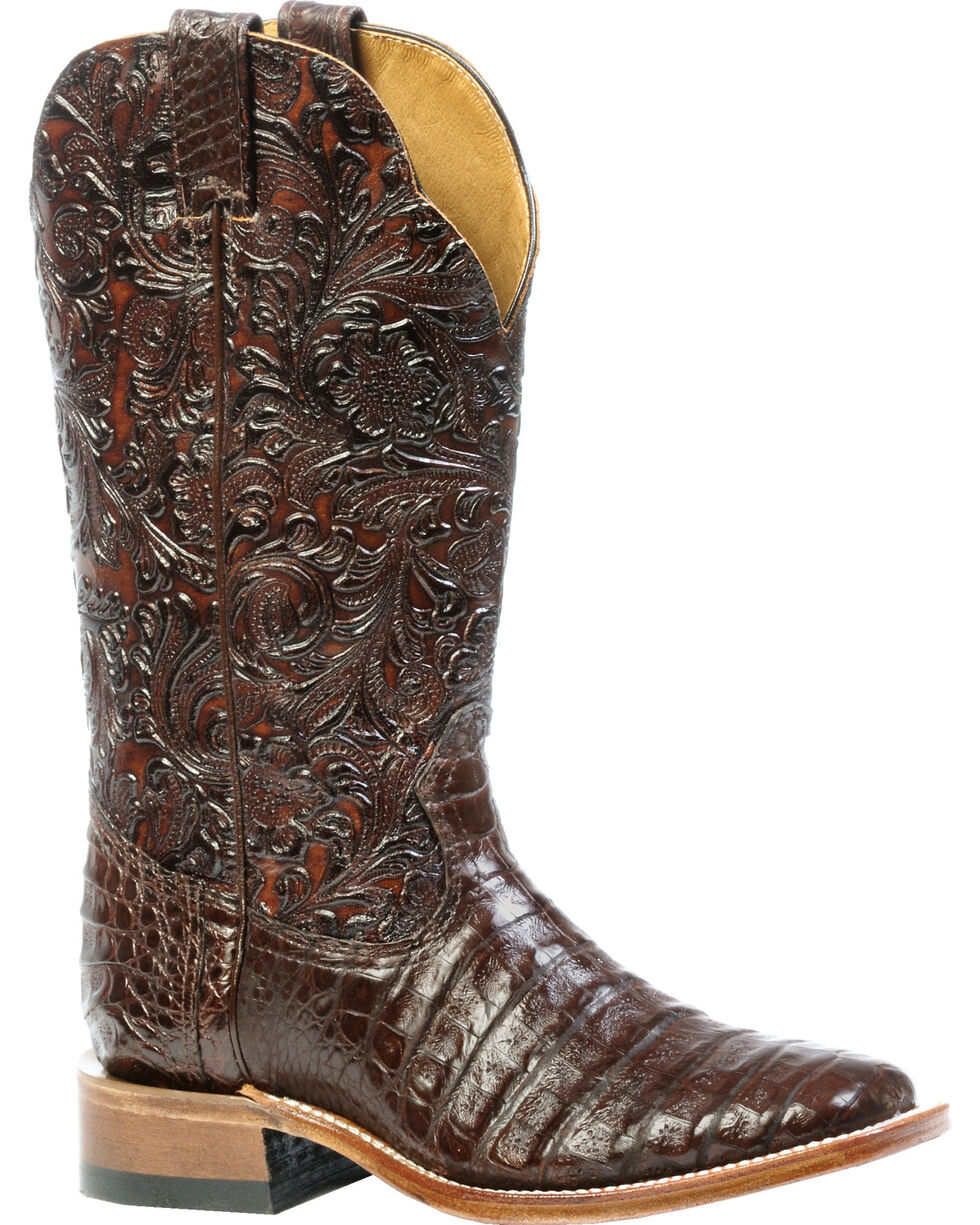Boulet 3-Piece Chocolate Caiman Floral Cowgirl Boots - Square Toe, , hi-res