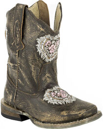 Roper Toddler Girls' Destiny Floral Heart Inside Zip Cowgirl Boots - Square Toe, , hi-res