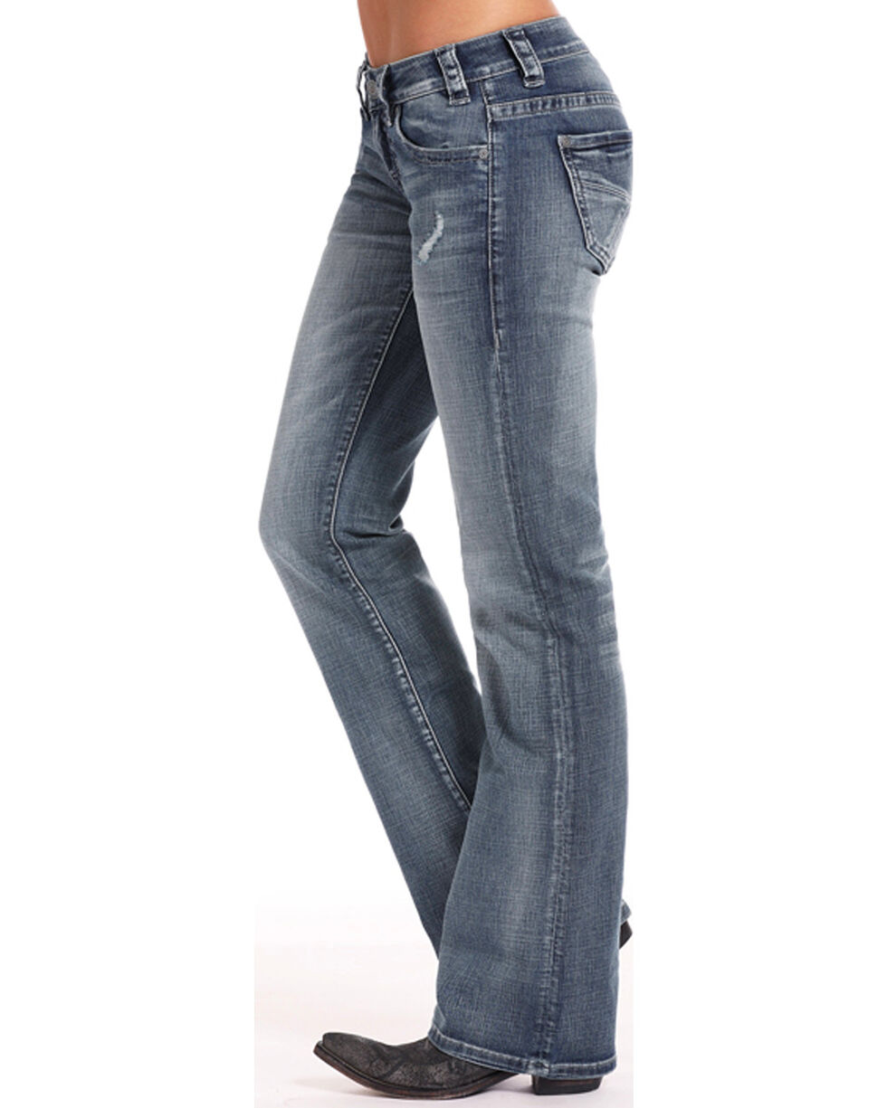 Rock & Roll Cowgirl Women's Crossing Seams Jeans - Boot Cut , Indigo, hi-res