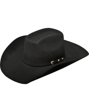 Ariat Men's 2X Wool Added Money Cowboy Hat , Black, hi-res