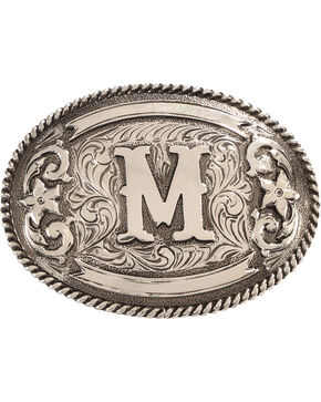 Cody James Men's Oval Letter M Initial Belt Buckle , Silver, hi-res