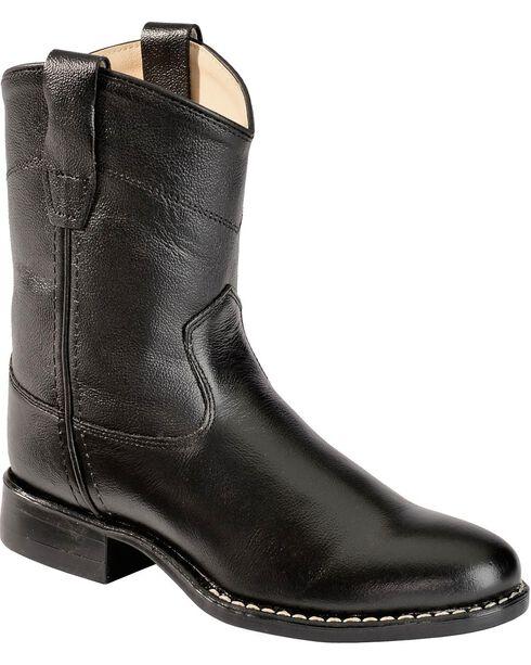 Jama Youth Corona Western Boots, Black, hi-res