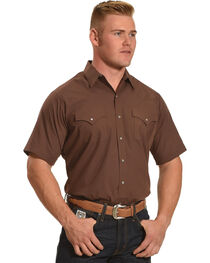 Ely Cattleman Men's Brown Short Sleeve Solid Shirt , Brown, hi-res