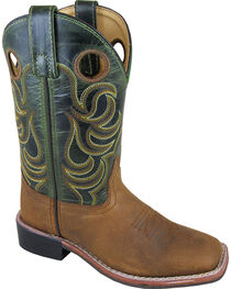 Smoky Mountain Boys' Green Jesse Western Boots - Square Toe , , hi-res