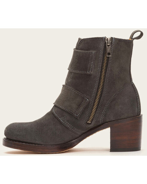 Frye Women's Sabrina Double Buckle Charcoal Suede Boots , Dark Grey, hi-res