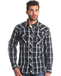 Wrangler Men's Black Plaid Fashion Snap Shirt - Big & Tall , , hi-res