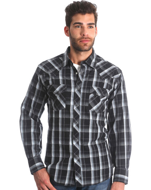 Wrangler Men's Black Plaid Fashion Snap Shirt - Big & Tall , Black, hi-res