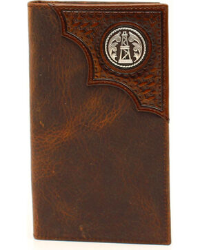 Ariat Basketweave Oil Rig Concho Rodeo Wallet, Aged Bark, hi-res