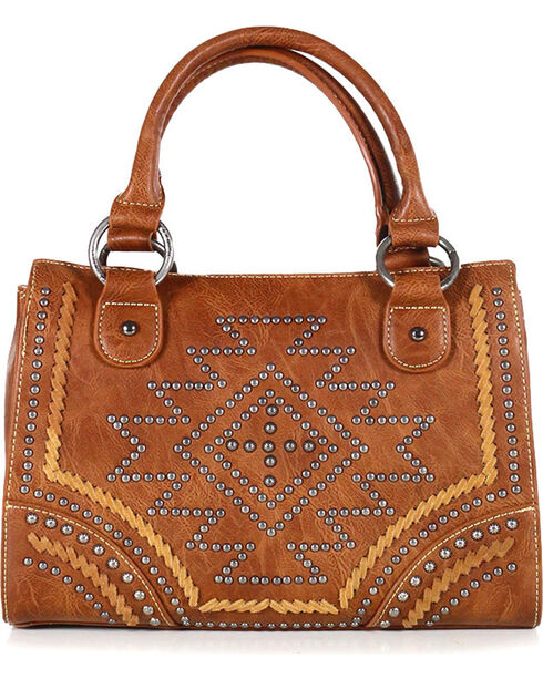 Montana West Women's Southwestern Collection Satchel, Brown, hi-res