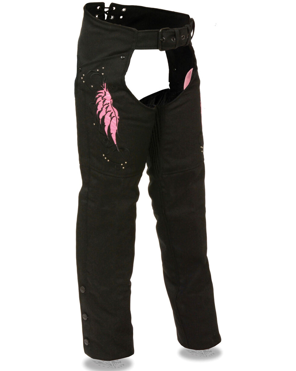 Milwaukee Leather Women's Textile Chap with Wing & Rivet Detailing - 4X, , hi-res