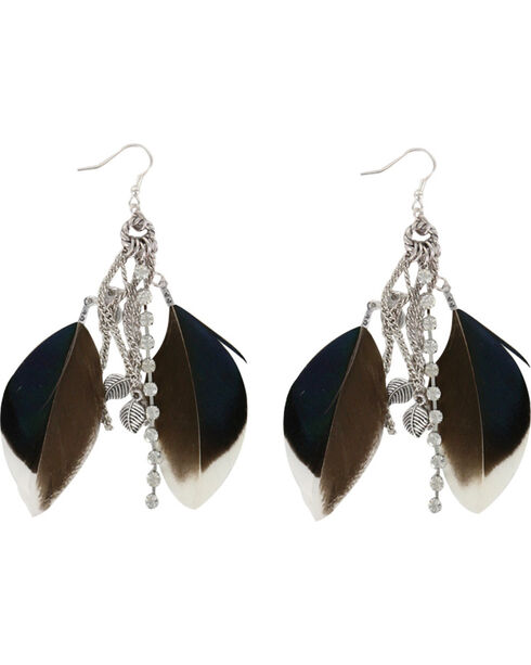 Shyanne® Women's Feather Hook Earrings, Brown, hi-res