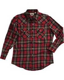 Ely Cattleman Men's Red Brawny Flannel Long Sleeve Snap Shirt, , hi-res