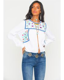 MI. OH. MI. Women's Embroidered Floral & Llama Long Sleeve Top, , hi-res