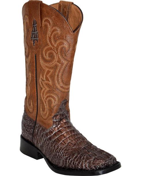 Ferrini Women's Caiman Print Western Boots - Square Toe, Bronze, hi-res