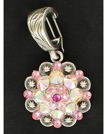 Pink Rhinestone Embellished Concho Necklace Pendant, , hi-res