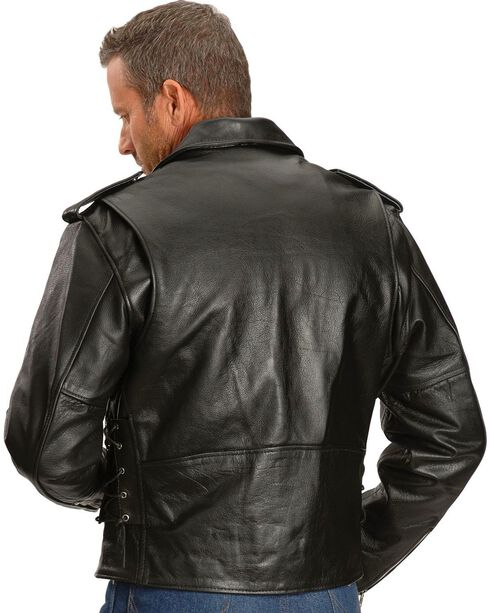 Interstate Leather Men's Ryder Motorcycle Jacket, Black, hi-res