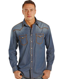 Rough Stock by Panhandle Slim Carderock Chambray Western Snap Shirt , , hi-res