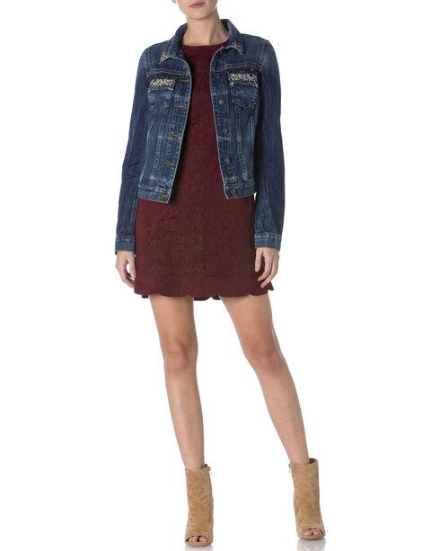 Miss Me Women's Glitterati Denim Jacket, Indigo, hi-res
