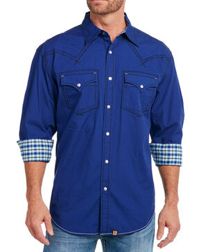 Cowboy Up Men's Solid Long Sleeve Western Shirt, Blue, hi-res