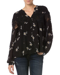 Miss Me Black Lace Floral Button Down Top   , , hi-res