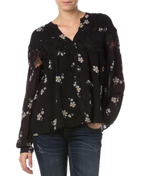 Miss Me Black Lace Floral Button Down Top   , Multi, hi-res