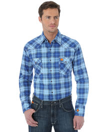 Wrangler Western Blue Plaid Flame Resistant Work Shirt, , hi-res
