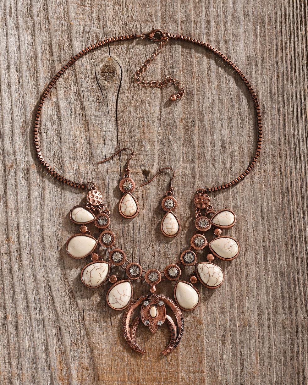Shyanne Women's Copper Bone Lotus Statement Jewelry Set, Rust Copper, hi-res