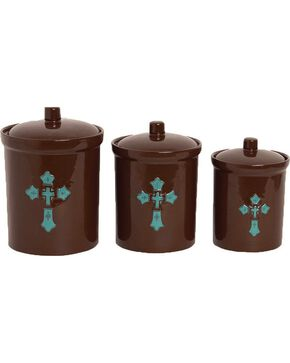 HiEnd Accents 3-Piece Cross Canister Set, Brown, hi-res