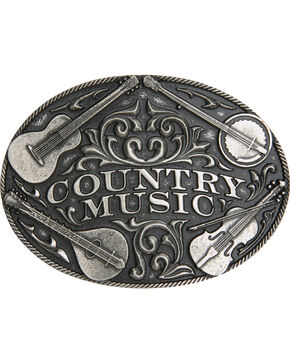 AndWest Silver Country Music Belt Buckle , Silver, hi-res